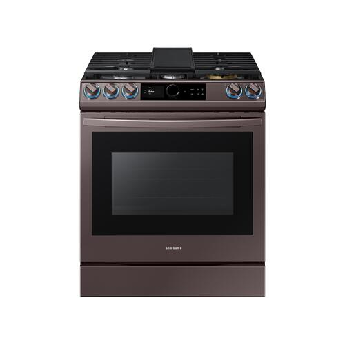 Samsung - 6.0 cu ft. Smart BESPOKE Slide-in Gas Range with Smart Dial & Air Fry in Tuscan Stainless Steel