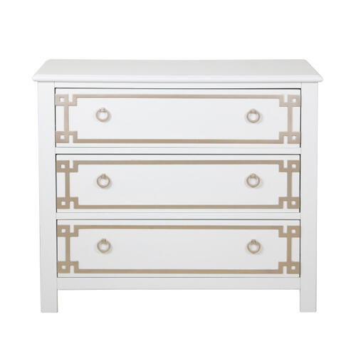 Metallic Overlay White Drawer Chest