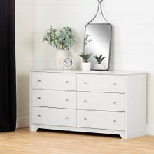 6-Drawer Double Dresser - Pure White
