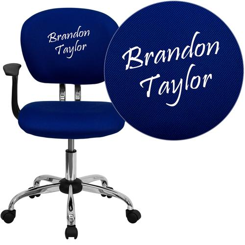 Personalized Mid-Back Blue Mesh Swivel Task Chair with Chrome Base and Arms