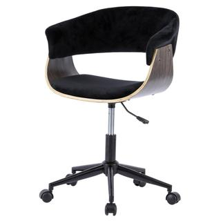 Maggie KD Velvet Fabric Office Chair, Velvet Black/Washed Black