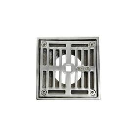 "4"" Square Solid Nickel Bronze Plated Grid Shower Drain - Polished Chrome"