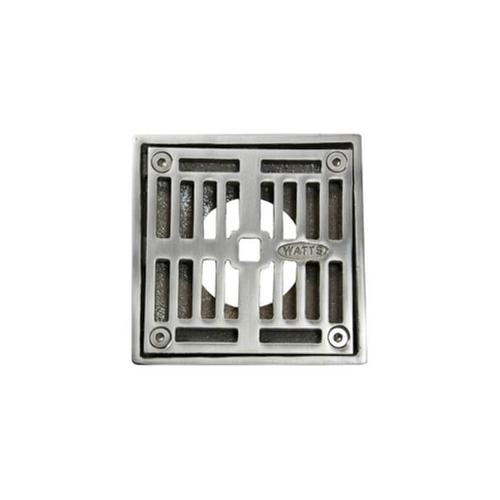 """Mountain Plumbing - 4"""" Square Solid Nickel Bronze Plated Grid Shower Drain - Polished Gold"""