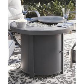 Donnalee Bay Round Fire Pit Table Dark Gray