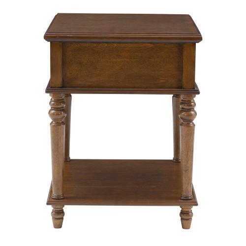 1-shelf and 1-drawer Side Table, Hazelnut