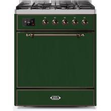 See Details - Majestic II 30 Inch Dual Fuel Liquid Propane Freestanding Range in Emerald Green with Bronze Trim