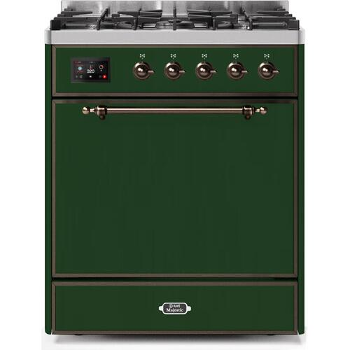 Ilve - Majestic II 30 Inch Dual Fuel Liquid Propane Freestanding Range in Emerald Green with Bronze Trim