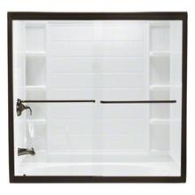 "Finesse™ Frameless Sliding Bath Door - Height 58-1/16"", Max. Opening 59-5/8"" - Deep Bronze with Smooth Clear Glass Texture"