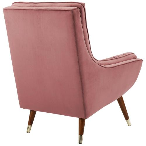 Suggest Button Tufted Performance Velvet Lounge Chair in Dusty Rose