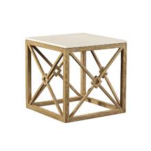 See Details - White Marble Side Table