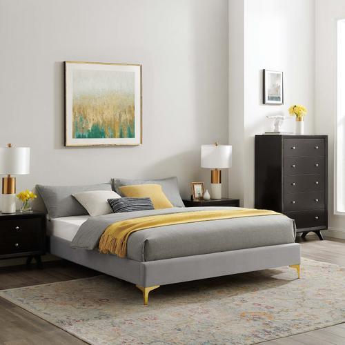 Sutton Full Performance Velvet Bed Frame in Light Gray