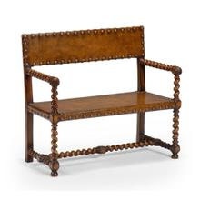 See Details - Tudor style leather bench (Walnut)