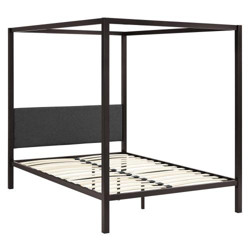 Raina Queen Canopy Bed Frame in Brown Gray