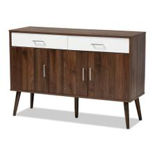 See Details - Baxton Studio Leena Mid-Century Modern Two-Tone White and Walnut Brown Finished Wood 2-Drawer Sideboard Buffet