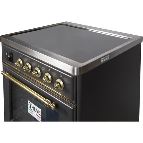 Majestic II 30 Inch Electric Freestanding Range in Matte Graphite with Brass Trim