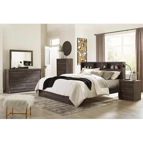 King Bookcase Panel Bed With Mirrored Dresser, Chest and 2 Nightstands
