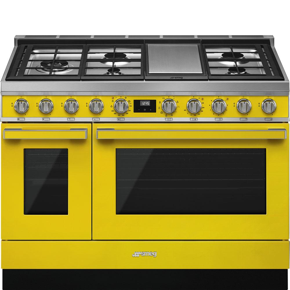 """SmegPortofino Pro-Style Dual Fuel Range, Yellow, 48"""" X 25"""""""