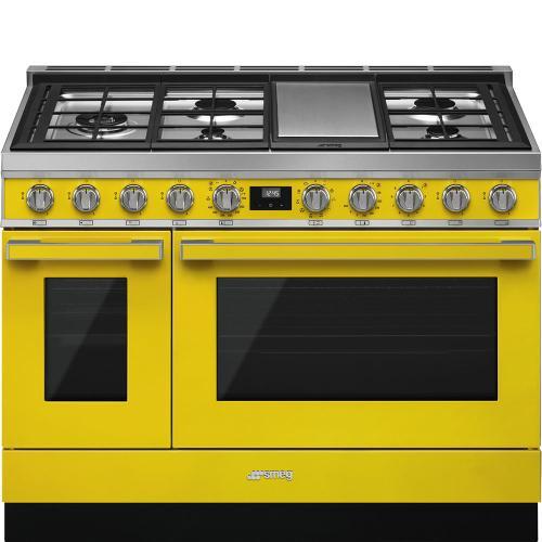 "Portofino Pro-Style Dual Fuel Range, Yellow, 48"" x 25"""