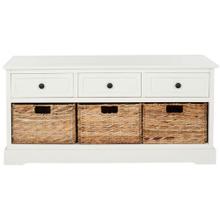 See Details - Damien 3 Drawer Storage Bench - Distressed Cream