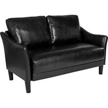 Asti Upholstered Loveseat in Black LeatherSoft