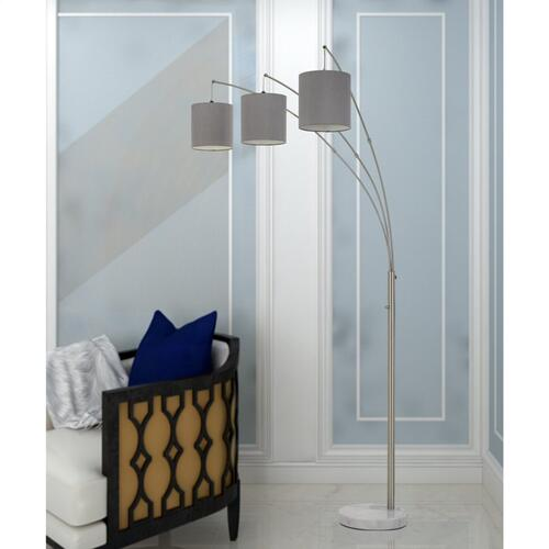 Lyndon Metal Arc Floor Lamp With Platnimum Grey Drum Shade And Marble Base