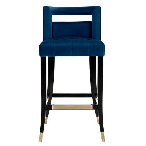Tov Furniture - Hart Navy Velvet Bar Stool