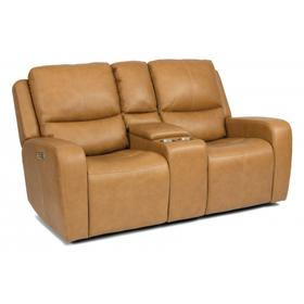 Aiden Power Reclining Loveseat with Console & Power Headrests