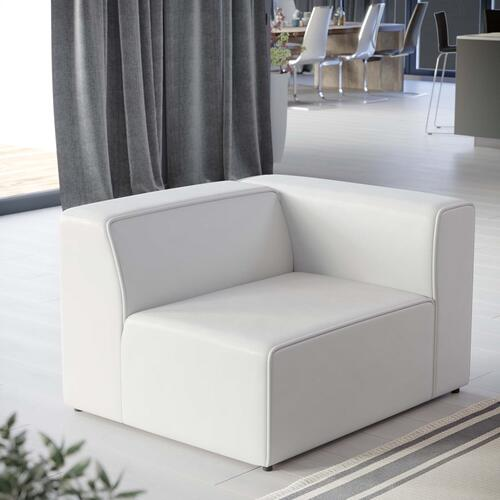 Modway - Mingle Vegan Leather Right-Arm Chair in White