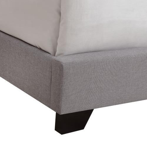 Upholstered Camelback Queen Bed in Smoke Gray