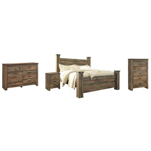 Ashley - King Poster Bed With Dresser, Chest and Nightstand