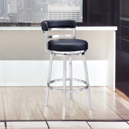 "Madrid Contemporary 30"" Bar Height Barstool in Brushed Stainless Steel Finish and Black Faux Leather"
