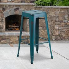 "Commercial Grade 30"" High Backless Distressed Kelly Blue-Teal Metal Indoor-Outdoor Barstool"