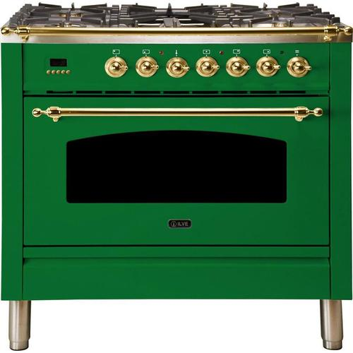 Nostalgie 36 Inch Dual Fuel Liquid Propane Freestanding Range in Emerald Green with Brass Trim