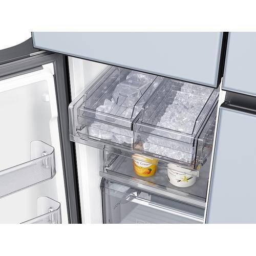 Samsung - 23 cu. ft. Smart Counter Depth BESPOKE 4-Door Flex™ Refrigerator with Customizable Panel Colors in Sky Blue Glass
