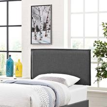 View Product - Camille Twin Upholstered Fabric Headboard in Gray