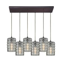 Murieta 6-Light Rectangular Pendant Fixture in Oiled Bronze with Wire Cage and Speckled Seedy Glass