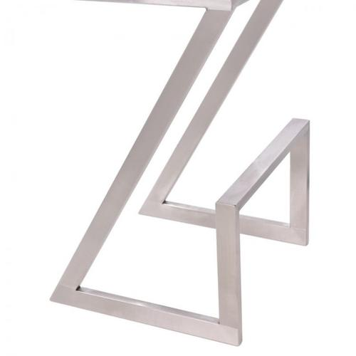 """Armen Living Atlantis 30"""" Backless Barstool in Brushed Stainless Steel finish with White Pu upholstery"""