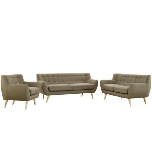 Remark 3 Piece Living Room Set in Brown