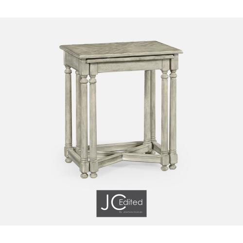 Rustic Grey Parquet Nesting Tables with Contrast Inlay