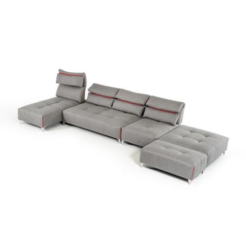 David Ferrari Zip Modern Grey Fabric Sectional Sofa