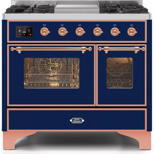 Ilve - Majestic II 40 Inch Dual Fuel Natural Gas Freestanding Range in Blue with Copper Trim