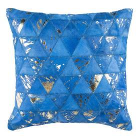 Clairton Metallic Cowhide Pillow - Blue / Silver
