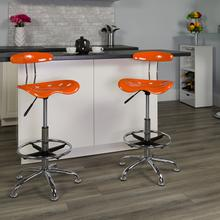 View Product - Vibrant Orange and Chrome Drafting Stool with Tractor Seat