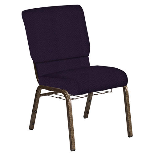 Flash Furniture - 18.5''W Church Chair in Fiji Plum Fabric with Book Rack - Gold Vein Frame