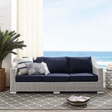 Conway Sunbrella® Outdoor Patio Wicker Rattan Sofa in Light Gray Navy