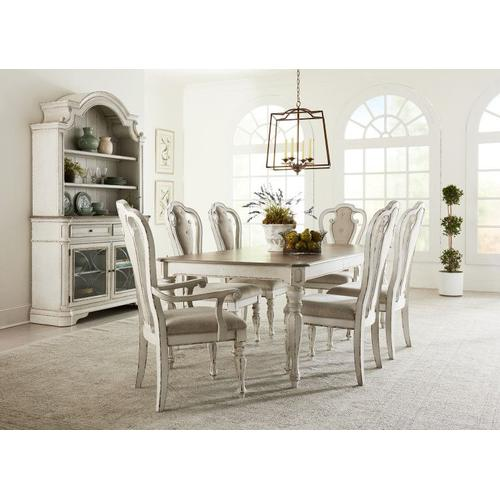 """Standard Furniture - Stevenson Manor Dining Table with 18"""" Leaf, Distressed White"""