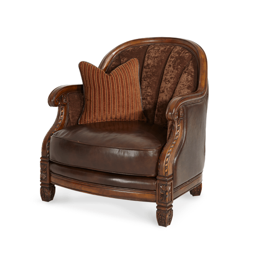 Wood Trim Leather/Fabric Barrel Chair - Opt1