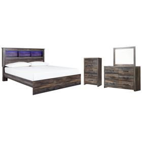 King Panel Bookcase Bed With Mirrored Dresser and Chest