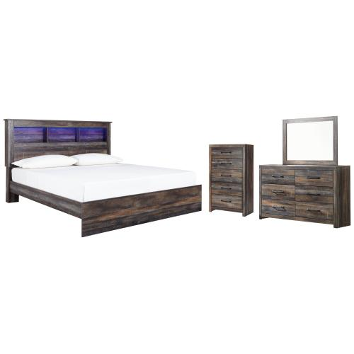 Product Image - King Panel Bookcase Bed With Mirrored Dresser and Chest