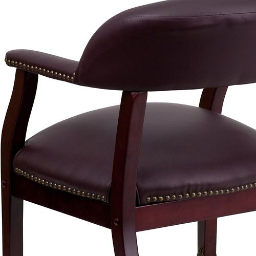 Gallery - Burgundy LeatherSoft Conference Chair with Accent Nail Trim and Casters
